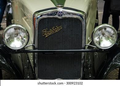 BERLIN - JUNE 14, 2015: Fragment of Erskine (Studebaker) Model 51 Sedan, 1928. The Classic Days on Kurfuerstendamm.