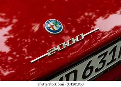 BERLIN - JUNE 14, 2015: The logo on the trunk lid of a luxury car Alfa Romeo 2000 Sprint (Tipo 102). The Classic Days on Kurfuerstendamm.