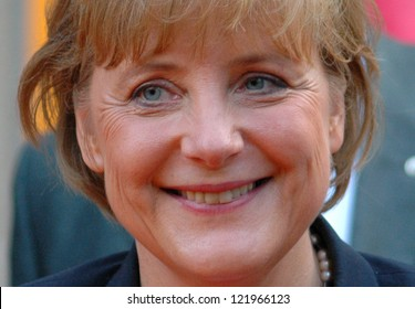 BERLIN, JUNE 15: Candidate for Chancellor Angela Merkel smiles after the celebration of the 50th anniversary of her party, the Christian Democratic Union on June 15, 2005 in Berlin.