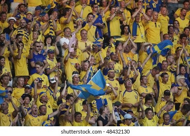 BERLIN - JUNE 15:  Sweden supporters cheer their team prior to a 2006 FIFA World Cup soccer between Paraguay and Sweden June 15, 2006 in Berlin, Germany.