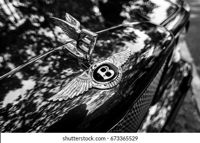 BERLIN - JUNE 17, 2017: Bentley's hood ornament. Close-up. Black and white. Classic Days Berlin 2017.