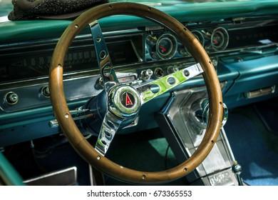 BERLIN - JUNE 17, 2017: Cabin of a full-size car Pontiac Bonneville, 1963. Classic Days Berlin 2017.