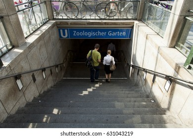 BERLIN - JUNE 18: People entering the Zoologischer Garten U-bahn station on June 18, 2012 in Berlin, Germany.
