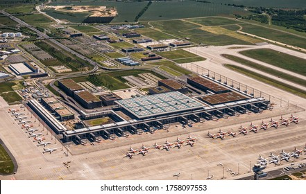 Berlin, June 2020, Due to coronavirus pandemic, Lufthansa, Easyjet and Ryanair  have parked airplanes at the new Berlin Brandenburg Airport (BER) which is not open for flight operation yet.