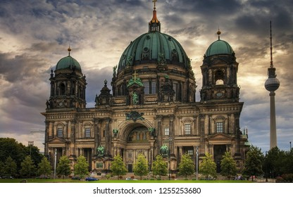 BERLIN - JUNE 29. The old Berliner Dom Cathedral Germany on June 29 2018. Berlin Cathedral or Berliner dom is current building was finished in 1905 and is a major work of Historicist architecture.