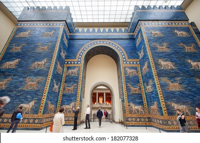 BERLIN - JUNE 3, 2013: Tourists in front of Babylonian city wall in Pergamon museum. It is the most visited in Berlin with more than 1.5 million visitors per year.