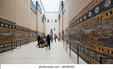 BERLIN - JUNE 3, 2013: Tourists inside Pergamon museum. It is the most visited in Berlin with more than 1.5 million visitors per year.