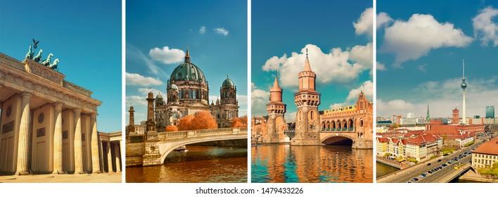 Berlin landmarks, toned travel collage. Brandenburg gate, Berlin cathedral, Oberbaum bridge and Alexanderplatz TV tower on a bright day.