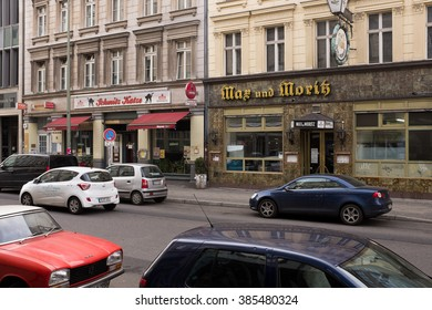 "BERLIN, MARCH 03: The legendary ""Max un Moritz"" restaurant and the ""Schmitz Katze"" bar in the Oranienstrasse in the historic ""SO36"", in Kreuzberg district in Berlin on March 03, 2016."
