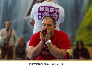 BERLIN - MARCH 18, 2017: Emotions of the team coaches during the sparring. European championship Kyokushin World Union (KWU) for Children and Youth.