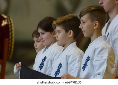 BERLIN - MARCH 18, 2017: Spectators and participants of the competition before the start of the fighting. European championship Kyokushin World Union (KWU) for Children and Youth.
