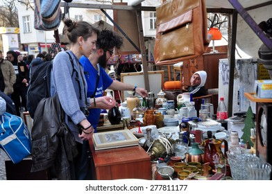 BERLIN - March 1st: BOXAGENGER PLATZ  (flea market) on March 1 2015 in Berlin, Germany.