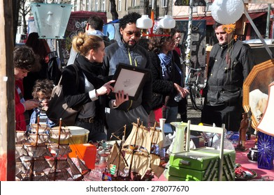 BERLIN â?? March 1st: BOXAGENGER PLATZ  (flea market) on March 1 2015 in Berlin, Germany.