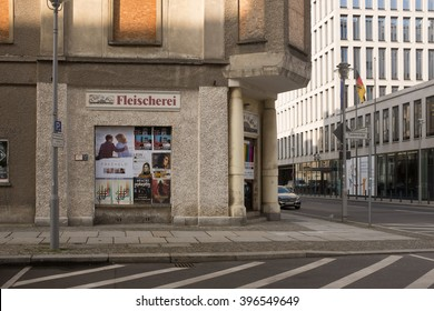 BERLIN, MARCH 24: Unused building in the corner Glinkastrasse Jagerstrasse in Berlin on March 24, 2016.