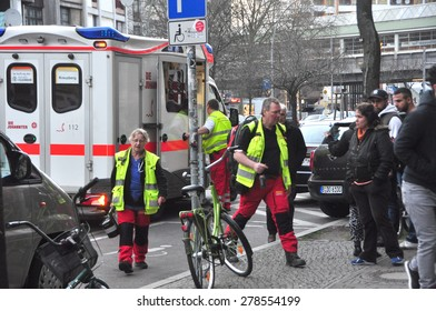 BERLIN - March 3: The arrival of an ambulance during knifing accident on March 3, 2015 in Berlin, Germany.