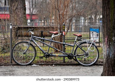 BERLIN MARCH 6: Double bike (over 15% people in Berlin prefer moving by bike) on March 6, 2015.