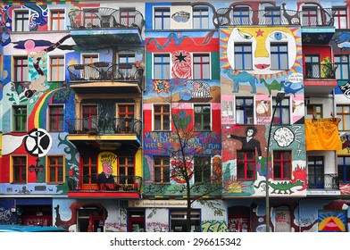 BERLIN, MARCH 6: Graffiti House in Easten Berlin (Berlin is the most popular city among graffiti artists) on March 6, 2015 in Berlin.