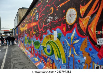 BERLIN â?? MARCH 6: The part of Berlin Wall. Berlin Wall (German: Berliner Mauer) was a barrier that divided Berlin from 1961 to 1989 March 6, 2015 in Berlin.