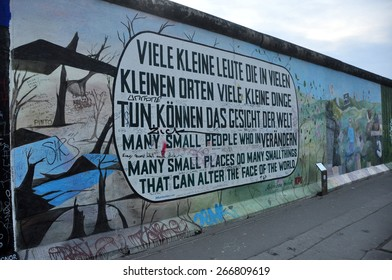 BERLIN MARCH 6: The part of Berlin Wall (East Side Gallery). Berlin Wall (German: Berliner Mauer) was a barrier that divided Berlin from 1961 to 1989 March 6, 2015 in Berlin.