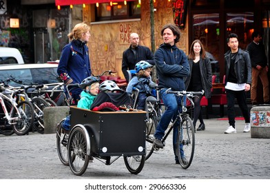 BERLIN MARCH 6: Unidentified Berliners on the bicycles (over 15% people in Berlin prefer moving by bike) on March 6, 2015.