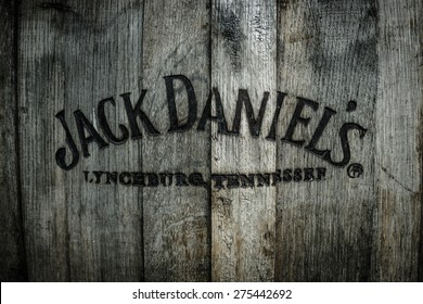 BERLIN - MAY 01, 2015: Burned logo of the famous Jack Daniel's whiskey at the old wooden barrel.