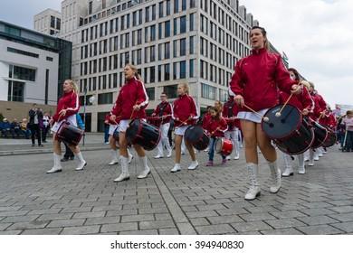 BERLIN - MAY 01, 2015: International Labor Day. Participants in the demonstration musicians Berliner Fanfarenzug.
