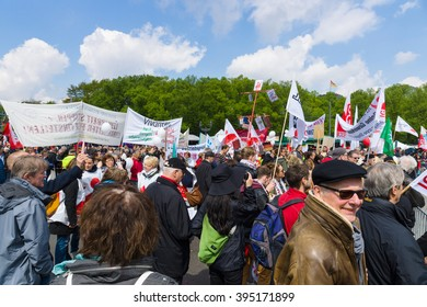BERLIN - MAY 01, 2015: Members of trade unions, workers and employees at the demonstration on the occasion of Labour day.