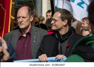 BERLIN - MAY 01, 2016: Governing Mayor of Berlin Michael Mueller (center). Members of trade unions, workers and employees at the demonstration on the occasion of Labour day.