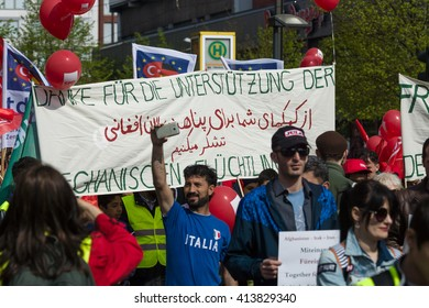 BERLIN - MAY 01, 2016: Members of trade unions, workers and employees at the demonstration on the occasion of Labour day.