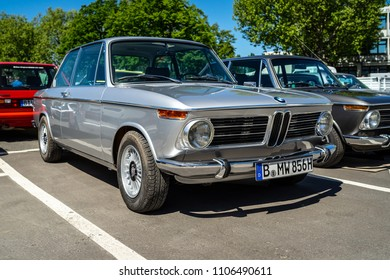 BERLIN - MAY 06, 2018: Compact executive car BMW 2002 New Class Coupe. Oldtimertage Berlin-Brandenburg (31th Berlin-Brandenburg Oldtimer Day).