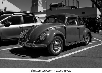 BERLIN - MAY 06, 2018: Economy car Volkswagen Beetle. Black and white. Exhibition 31. Oldtimertage Berlin-Brandenburg (31th Berlin-Brandenburg Oldtimer Day).