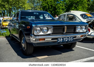 BERLIN - MAY 06, 2018: Executive car Datsun 200L, also known as Nissan Laurel, 1977. Oldtimertage Berlin-Brandenburg (31th Berlin-Brandenburg Oldtimer Day).