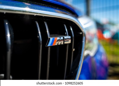 BERLIN - MAY 06, 2018: Exterior detail of the mid-size luxury car BMW M5 Limousine (F90). Close-up. Exhibition 31. Oldtimertage Berlin-Brandenburg (31th Berlin-Brandenburg Oldtimer Day).