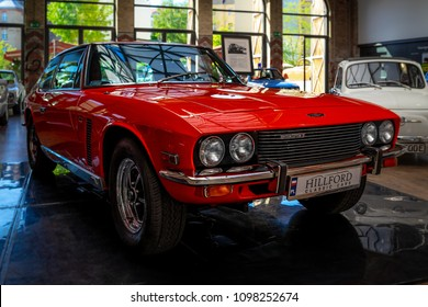 BERLIN - MAY 06, 2018: Grand touring car Jensen Interceptor MkII, 1971. Exhibition 31. Oldtimertage Berlin-Brandenburg (31th Berlin-Brandenburg Oldtimer Day).