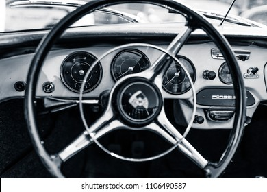 BERLIN - MAY 06, 2018: Interior of sports car Porsche 356B. Focus in the background. Black and white. Oldtimertage Berlin-Brandenburg (31th Berlin-Brandenburg Oldtimer Day).