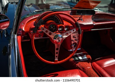 BERLIN - MAY 06, 2018: Interior of the sports car Chevrolet Corvette (C1). Oldtimertage Berlin-Brandenburg (31th Berlin-Brandenburg Oldtimer Day).
