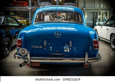 "BERLIN - MAY 06, 2018: Luxury car Mercedes-Benz 220S (W180 II) ""Ponton"",1956. Rear view. Exhibition 31. Oldtimertage Berlin-Brandenburg (31th Berlin-Brandenburg Oldtimer Day)."