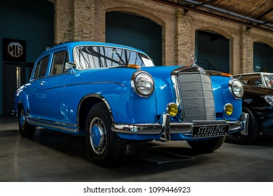 "BERLIN - MAY 06, 2018: Luxury car Mercedes-Benz 220S (W180 II) ""Ponton"",1956. Exhibition 31. Oldtimertage Berlin-Brandenburg (31th Berlin-Brandenburg Oldtimer Day)."