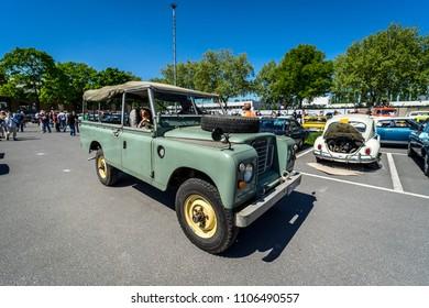 BERLIN - MAY 06; 2018: Off-road vehicle Land Rover Series III. Oldtimertage Berlin-Brandenburg (31th Berlin-Brandenburg Oldtimer Day).