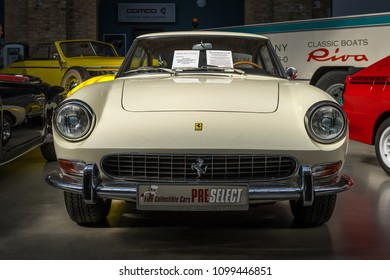 BERLIN - MAY 06, 2018: Sports car Ferrari 330 GT 2+2 Series II, 1967. Exhibition 31. Oldtimertage Berlin-Brandenburg (31th Berlin-Brandenburg Oldtimer Day).