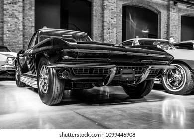 BERLIN - MAY 06, 2018: Sports car Chevrolet Corvette Sting Ray (C2). Black and white. Exhibition 31. Oldtimertage Berlin-Brandenburg (31th Berlin-Brandenburg Oldtimer Day).