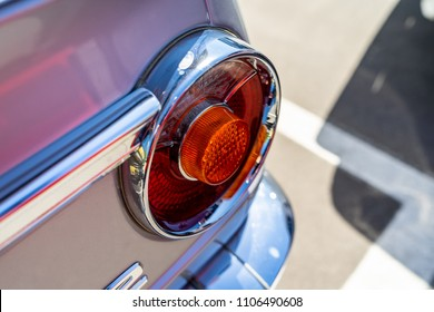 BERLIN - MAY 06, 2018: Stoplights of the compact executive car BMW 2002 New Class Coupe. Oldtimertage Berlin-Brandenburg (31th Berlin-Brandenburg Oldtimer Day).