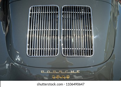 BERLIN - MAY 06, 2018: The ventilation grille of the engine compartment of a sports car Porsche 356B. Oldtimertage Berlin-Brandenburg (31th Berlin-Brandenburg Oldtimer Day).