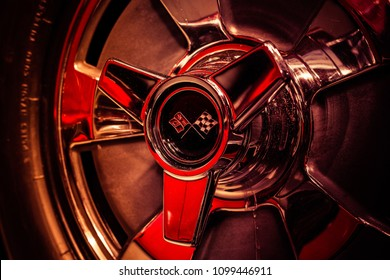 BERLIN - MAY 06, 2018: Wheel hub part of a sports car Chevrolet Corvette Sting Ray (C2). Close-up. Exhibition 31. Oldtimertage Berlin-Brandenburg (31th Berlin-Brandenburg Oldtimer Day).