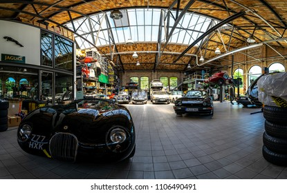 BERLIN - MAY 06, 2018: A workshop for the maintenance and repair of retro cars in the complex of buildings Classic Remise Berlin. Oldtimertage Berlin-Brandenburg (31th Berlin-Brandenburg Oldtimer Day)