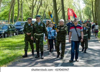 BERLIN - MAY 09, 2016: Victory Day in Treptower Park. Military veterans in the uniform of Airborne Troops of Russia.