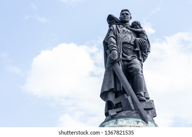 BERLIN - MAY 09, 2018: Soviet War Memorial (Treptower Park). The soldier-liberator monument.