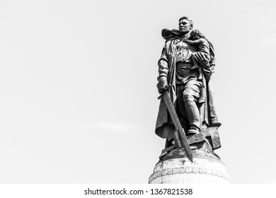 BERLIN - MAY 09, 2018: Soviet War Memorial (Treptower Park). The soldier-liberator monument. Black and white.