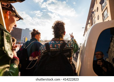 BERLIN - May 1, 2016: Protesters march through Berlin-Kreuzberg as part of the annual May Day demonstrations in Berlin on May 1, 2016.