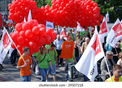BERLIN - MAY 1: German workers march in May Day demonstrations celebrate international proletarian solidarity on May 1, 2009 in Berlin, Germany.